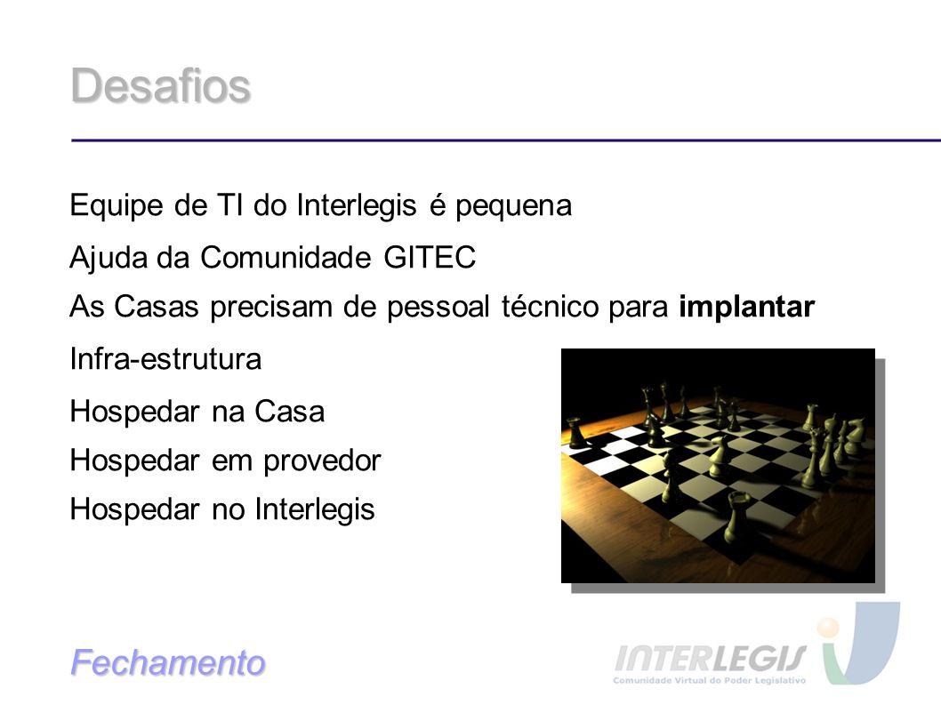 Desafios Equipe de TI do Interlegis é pequena Ajuda da Comunidade GITEC As Casas precisam de pessoal técnico para implantar Infra-estrutura Hospedar na Casa Hospedar em provedor Hospedar no Interlegis Fechamento