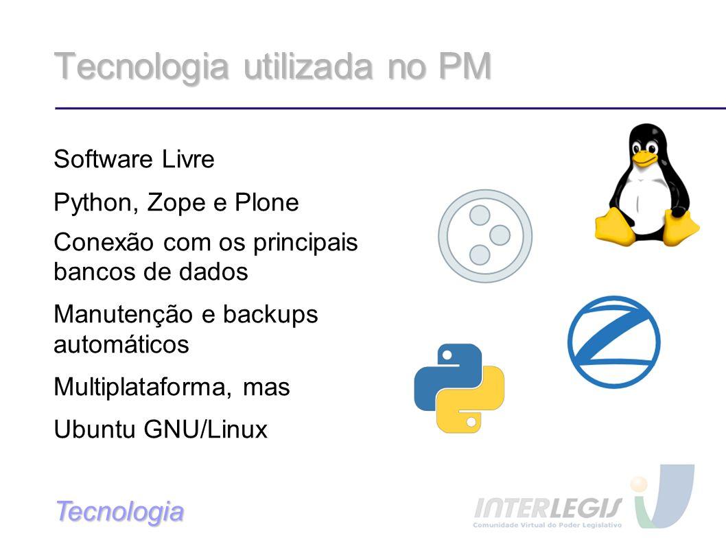 Tecnologia utilizada no PM Software Livre Python, Zope e Plone Conexão com os principais bancos de dados Manutenção e backups automáticos Multiplataforma, mas Ubuntu GNU/Linux Tecnologia