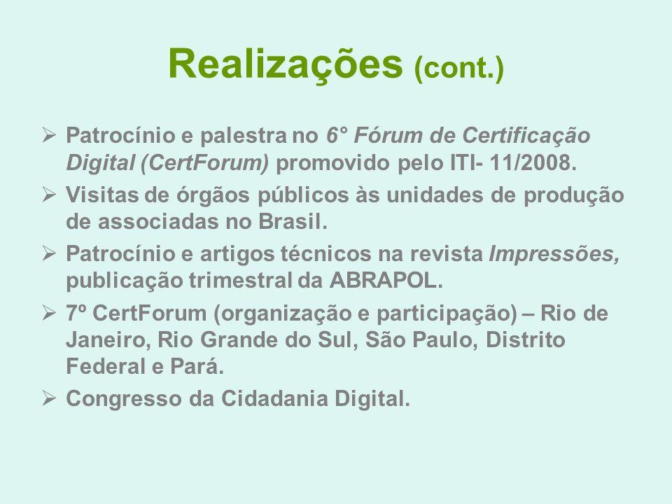 Realizações (cont.) Patrocínio e palestra no 6° Fórum de Certificação Digital (CertForum) promovido pelo ITI- 11/2008. Visitas de órgãos públicos às u