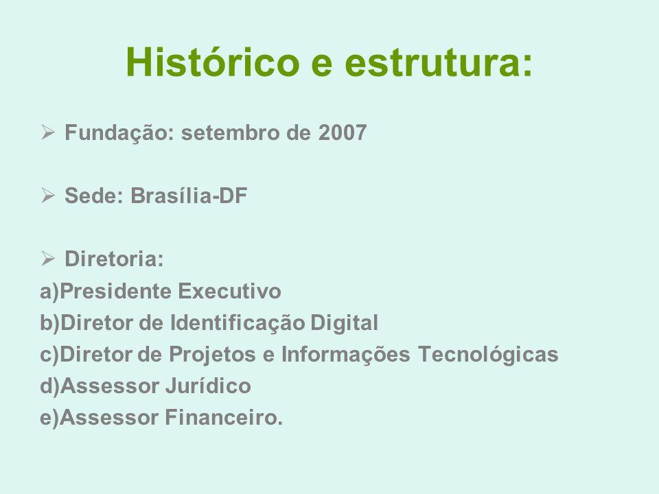 Histórico e estrutura: Fundação: setembro de 2007 Sede: Brasília-DF Diretoria: a)Presidente Executivo b)Diretor de Identificação Digital c)Diretor de