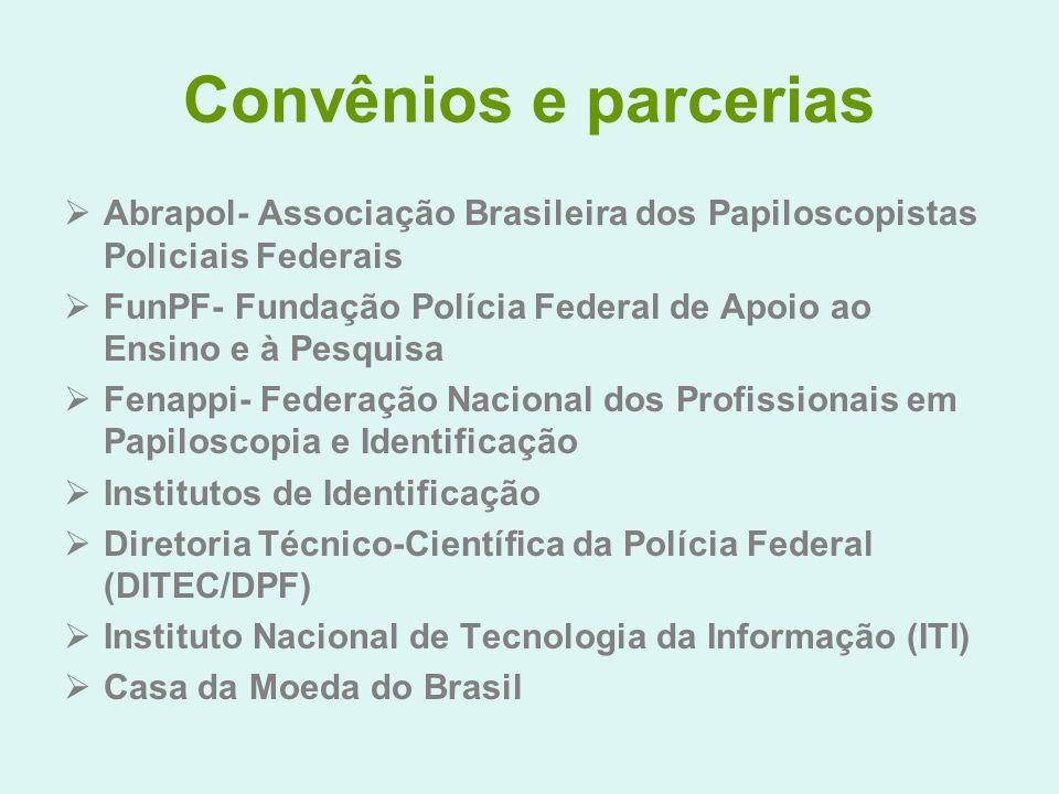 Convênios e parcerias Abrapol- Associação Brasileira dos Papiloscopistas Policiais Federais FunPF- Fundação Polícia Federal de Apoio ao Ensino e à Pes