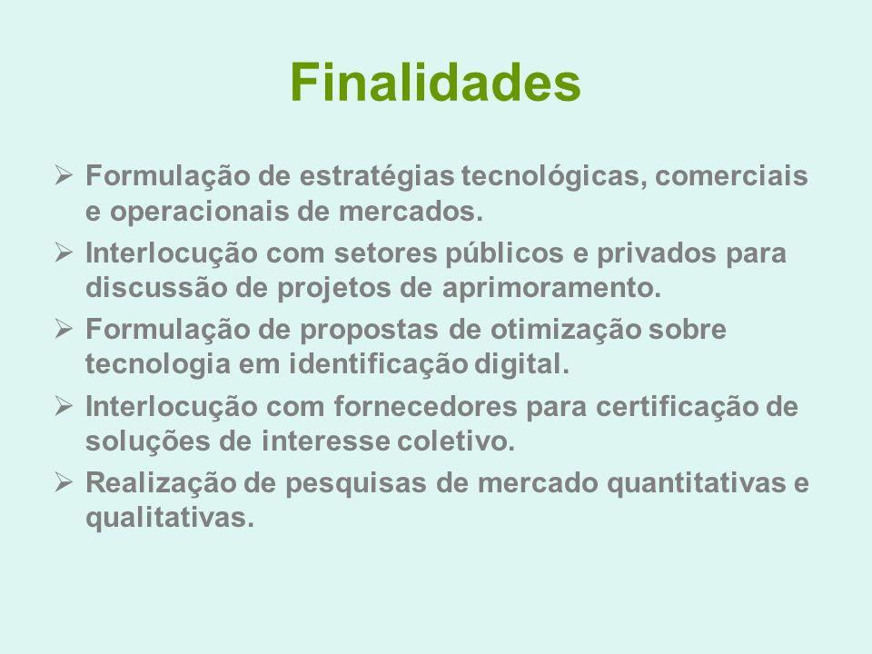 Finalidades Formulação de estratégias tecnológicas, comerciais e operacionais de mercados. Interlocução com setores públicos e privados para discussão