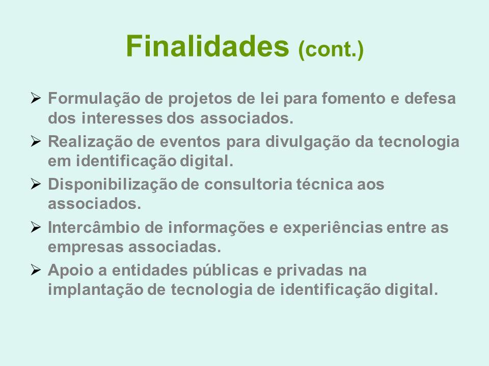 Finalidades (cont.) Formulação de projetos de lei para fomento e defesa dos interesses dos associados. Realização de eventos para divulgação da tecnol