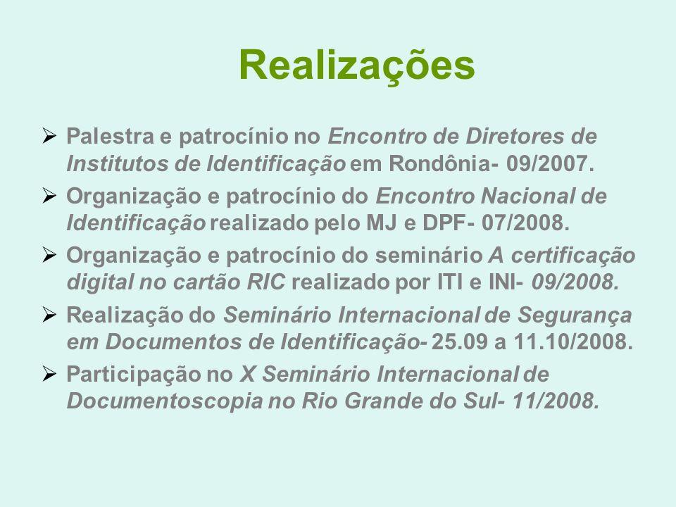 Realizações Palestra e patrocínio no Encontro de Diretores de Institutos de Identificação em Rondônia- 09/2007. Organização e patrocínio do Encontro N