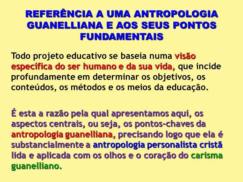 REFERÊNCIA A UMA ANTROPOLOGIA GUANELLIANA E AOS SEUS PONTOS FUNDAMENTAIS visão específica do ser humano e da sua vida, Todo projeto educativo se basei