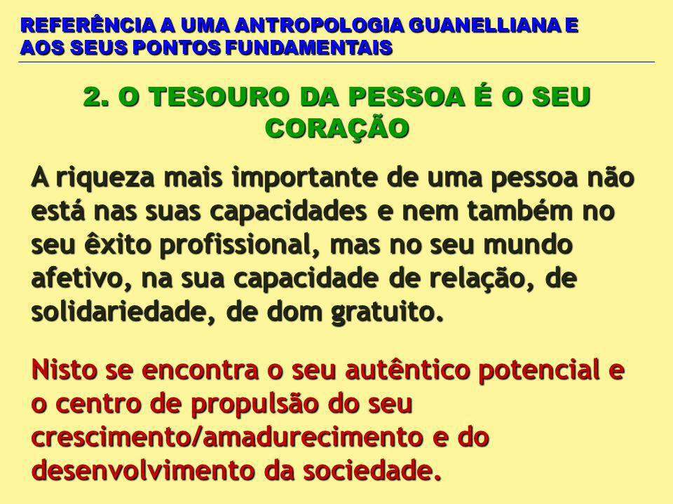 REFERÊNCIA A UMA ANTROPOLOGIA GUANELLIANA E AOS SEUS PONTOS FUNDAMENTAIS 2. O TESOURO DA PESSOA É O SEU CORAÇÃO Nisto se encontra o seu autêntico pote