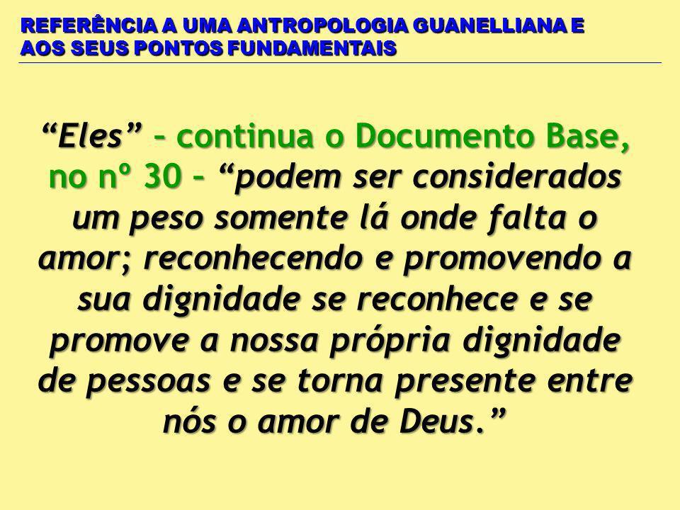 REFERÊNCIA A UMA ANTROPOLOGIA GUANELLIANA E AOS SEUS PONTOS FUNDAMENTAIS Eles – continua o Documento Base, no nº 30 – podem ser considerados um peso s