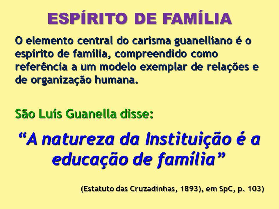 ESPÍRITO DE FAMÍLIA O elemento central do carisma guanelliano é o espírito de família, compreendido como referência a um modelo exemplar de relações e de organização humana.
