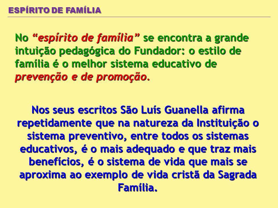 ESPÍRITO DE FAMÍLIA No espírito de família se encontra a grande intuição pedagógica do Fundador: o estilo de família é o melhor sistema educativo de prevenção e de promoção.