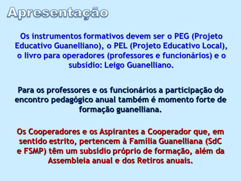 Os instrumentos formativos devem ser o PEG (Projeto Educativo Guanelliano), o PEL (Projeto Educativo Local), o livro para operadores (professores e funcionários) e o subsídio: Leigo Guanelliano.
