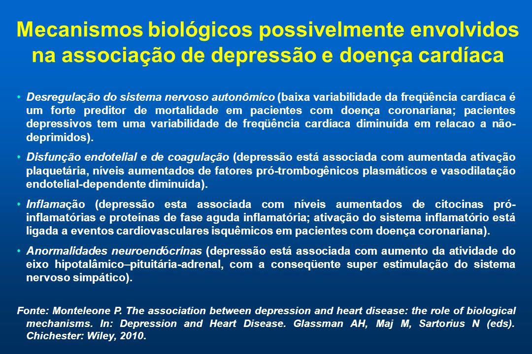 Mecanismos biológicos possivelmente envolvidos na associação de depressão e doença cardíaca Desregulação do sistema nervoso autonômico (baixa variabilidade da freqüência cardíaca é um forte preditor de mortalidade em pacientes com doença coronariana; pacientes depressivos tem uma variabilidade de freqüência cardíaca diminuída em relacao a não- deprimidos).