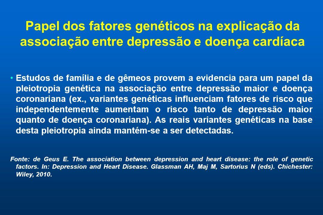 Papel dos fatores genéticos na explicação da associação entre depressão e doença cardíaca Estudos de família e de gêmeos provem a evidencia para um pa