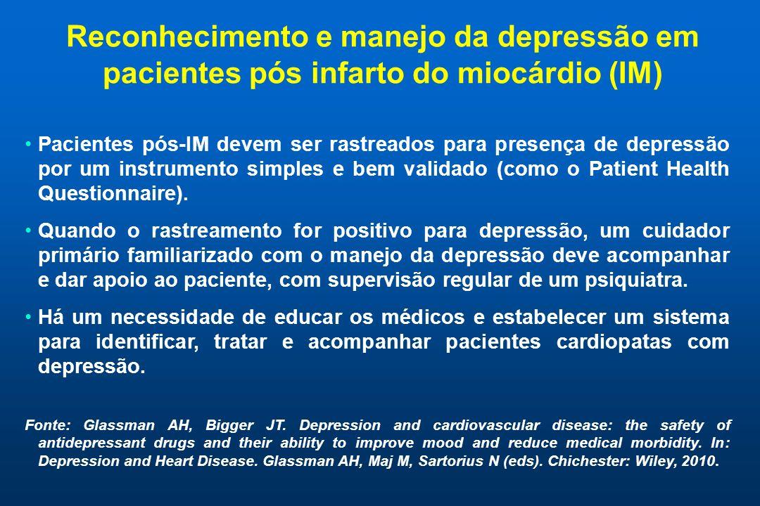 Reconhecimento e manejo da depressão em pacientes pós infarto do miocárdio (IM) Pacientes pós-IM devem ser rastreados para presença de depressão por um instrumento simples e bem validado (como o Patient Health Questionnaire).
