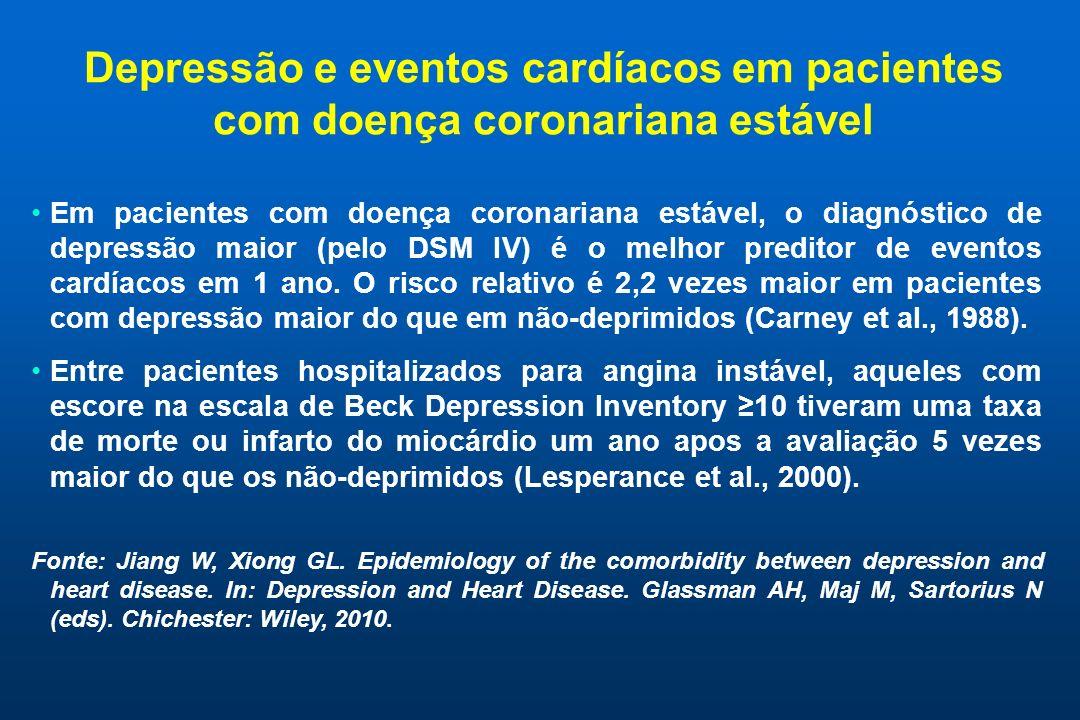 Depressão e eventos cardíacos em pacientes com doença coronariana estável Em pacientes com doença coronariana estável, o diagnóstico de depressão maio