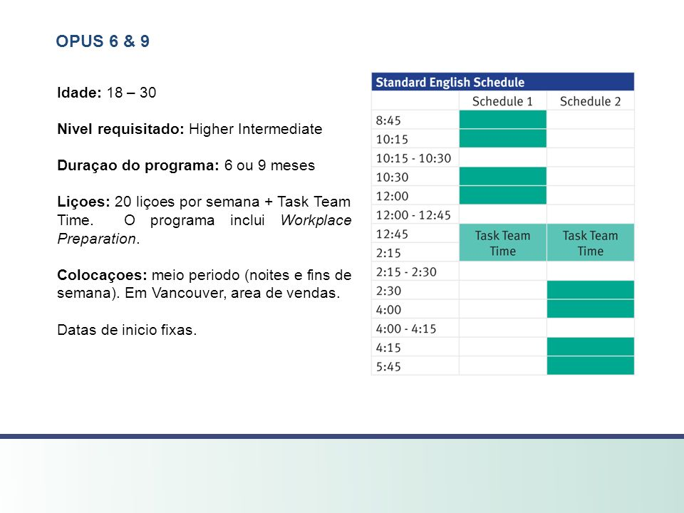 OPUS 6 & 9 Idade: 18 – 30 Nivel requisitado: Higher Intermediate Duraçao do programa: 6 ou 9 meses Liçoes: 20 liçoes por semana + Task Team Time.