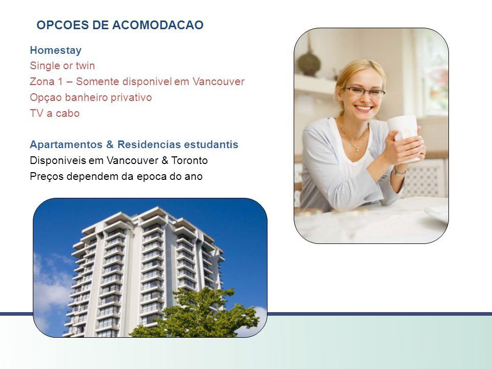 OPCOES DE ACOMODACAO Homestay Single or twin Zona 1 – Somente disponivel em Vancouver Opçao banheiro privativo TV a cabo Apartamentos & Residencias es