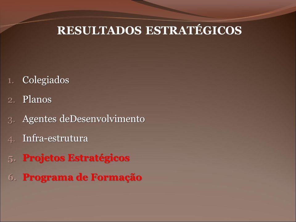 RESULTADOS ESTRATÉGICOS 1. Colegiados 2. Planos 3. Agentes deDesenvolvimento 4. Infra-estrutura 5. Projetos Estratégicos 6. Programa de Formação