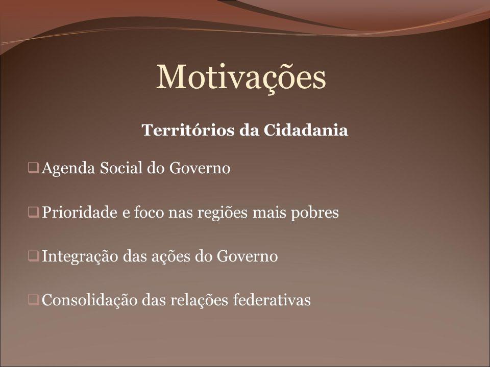 Motivações Territórios da Cidadania Agenda Social do Governo Prioridade e foco nas regiões mais pobres Integração das ações do Governo Consolidação da