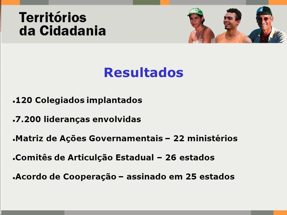 Resultados 120 Colegiados implantados 7.200 lideranças envolvidas Matriz de Ações Governamentais – 22 ministérios Comitês de Articulção Estadual – 26
