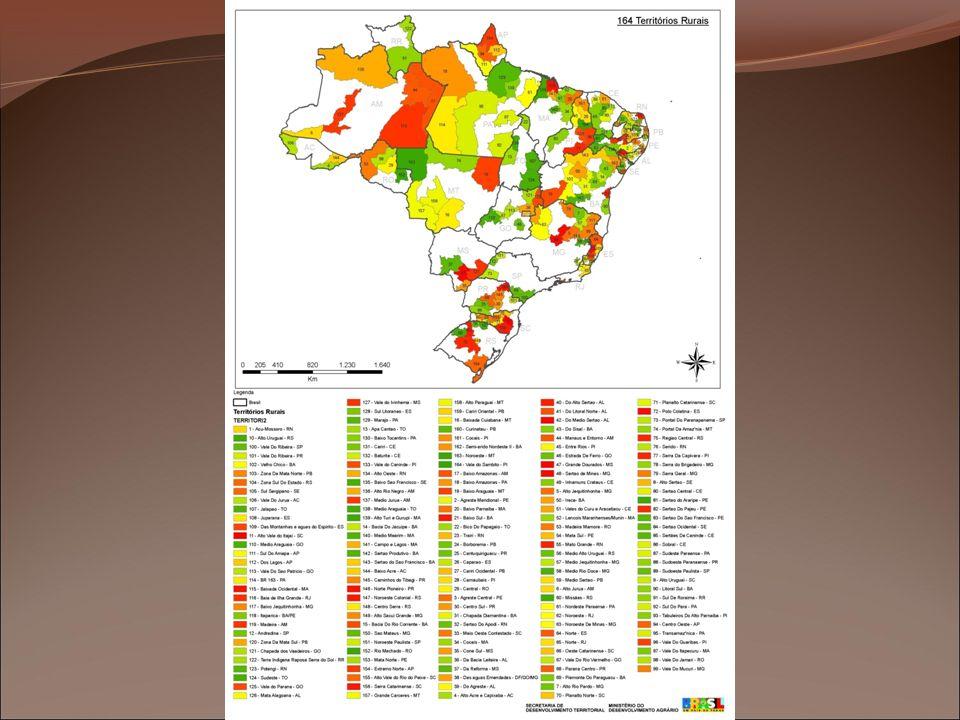 Motivações para uma abordagem territorial Releitura do Rural Apoio a agricultura familiar e reforma agrária superação das condições de pobreza no meio rural Insuficiência da escala municipal Superação das desigualdades regionais