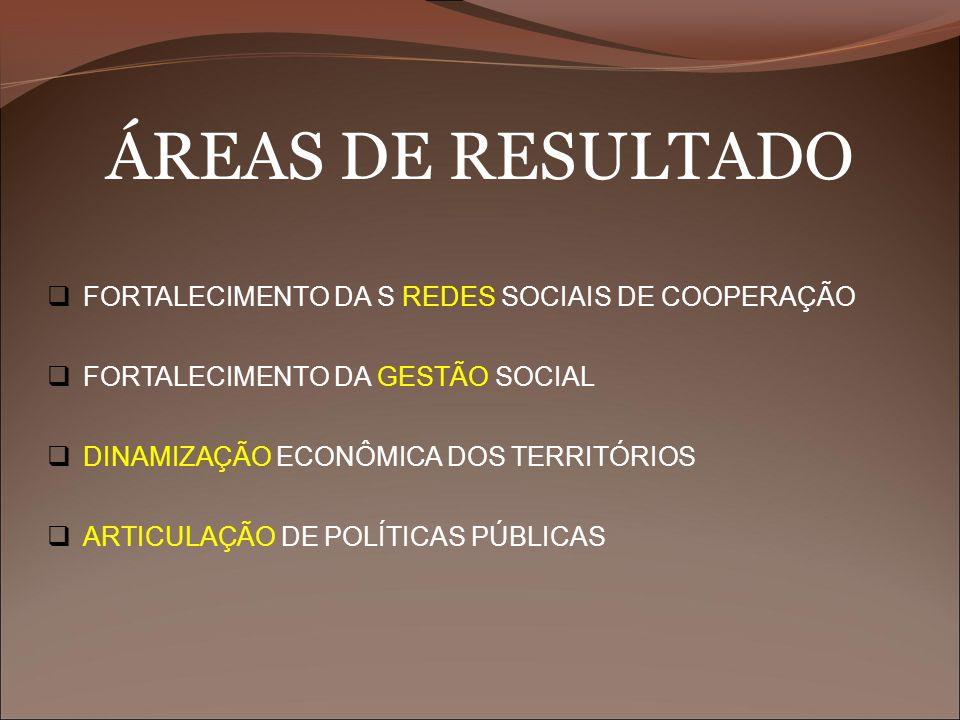 ÁREAS DE RESULTADO FORTALECIMENTO DA S REDES SOCIAIS DE COOPERAÇÃO FORTALECIMENTO DA GESTÃO SOCIAL DINAMIZAÇÃO ECONÔMICA DOS TERRITÓRIOS ARTICULAÇÃO D