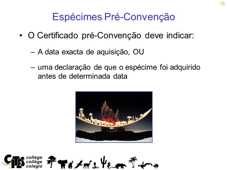 15 Espécimes Pré-Convenção O Certificado pré-Convenção deve indicar: –A data exacta de aquisição, OU –uma declaração de que o espécime foi adquirido a