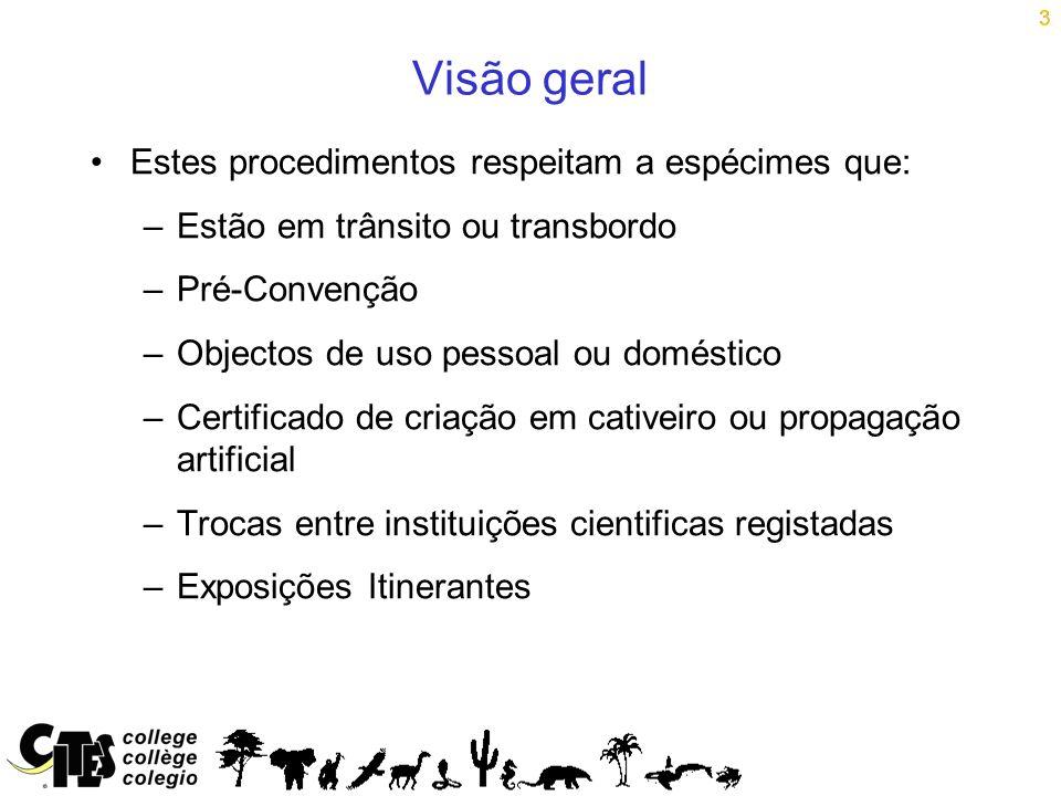 3 Visão geral Estes procedimentos respeitam a espécimes que: –Estão em trânsito ou transbordo –Pré-Convenção –Objectos de uso pessoal ou doméstico –Ce