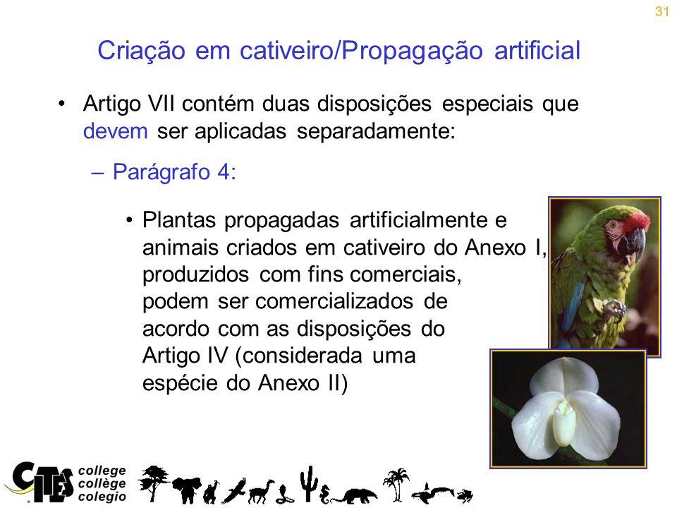 31 Criação em cativeiro/Propagação artificial Artigo VII contém duas disposições especiais que devem ser aplicadas separadamente: –Parágrafo 4: Planta