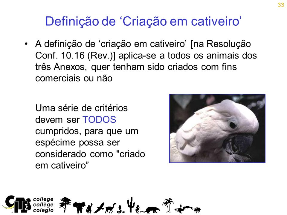 33 Definição de Criação em cativeiro A definição de criação em cativeiro [na Resolução Conf. 10.16 (Rev.)] aplica-se a todos os animais dos três Anexo