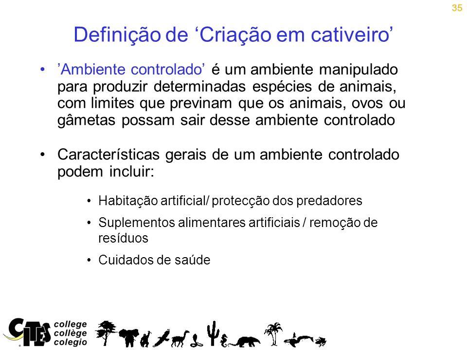 35 Definição de Criação em cativeiro Ambiente controlado é um ambiente manipulado para produzir determinadas espécies de animais, com limites que prev