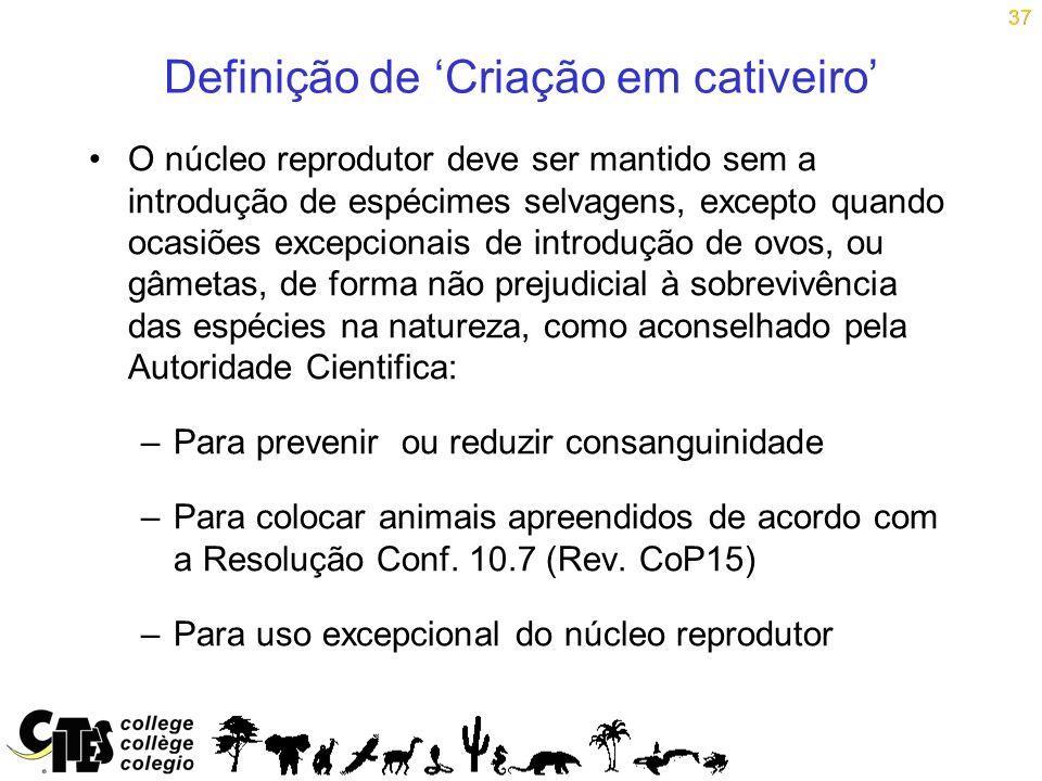 37 Definição de Criação em cativeiro O núcleo reprodutor deve ser mantido sem a introdução de espécimes selvagens, excepto quando ocasiões excepcionai