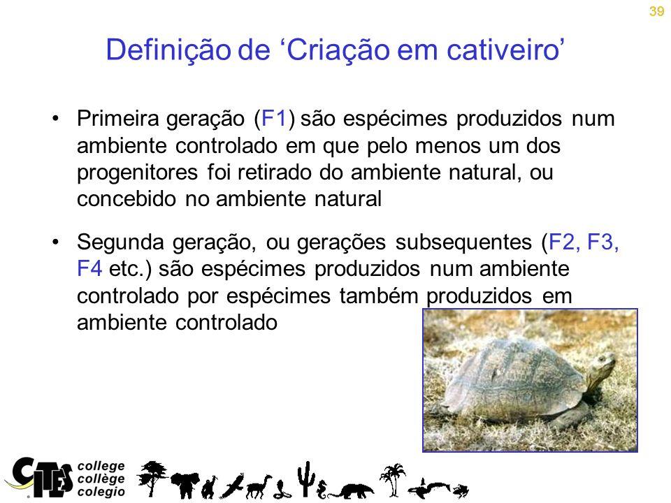 39 Definição de Criação em cativeiro Primeira geração (F1) são espécimes produzidos num ambiente controlado em que pelo menos um dos progenitores foi