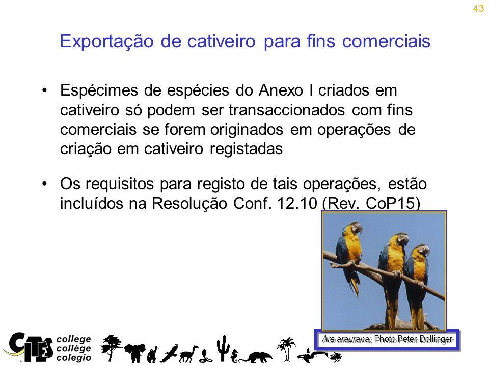 43 Exportação de cativeiro para fins comerciais Espécimes de espécies do Anexo I criados em cativeiro só podem ser transaccionados com fins comerciais