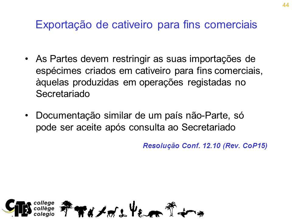 44 Exportação de cativeiro para fins comerciais As Partes devem restringir as suas importações de espécimes criados em cativeiro para fins comerciais,