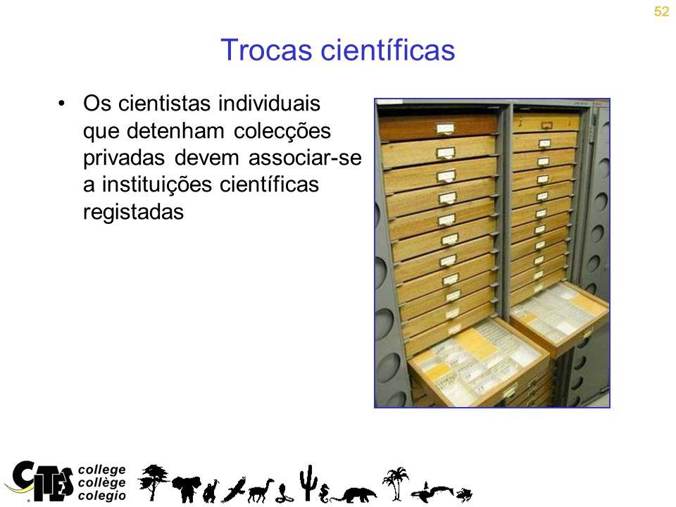 52 Trocas científicas Os cientistas individuais que detenham colecções privadas devem associar-se a instituições científicas registadas 52
