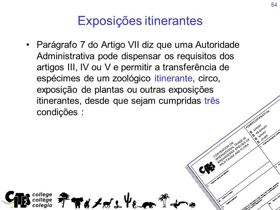 54 Exposições itinerantes Parágrafo 7 do Artigo VII diz que uma Autoridade Administrativa pode dispensar os requisitos dos artigos III, IV ou V e perm