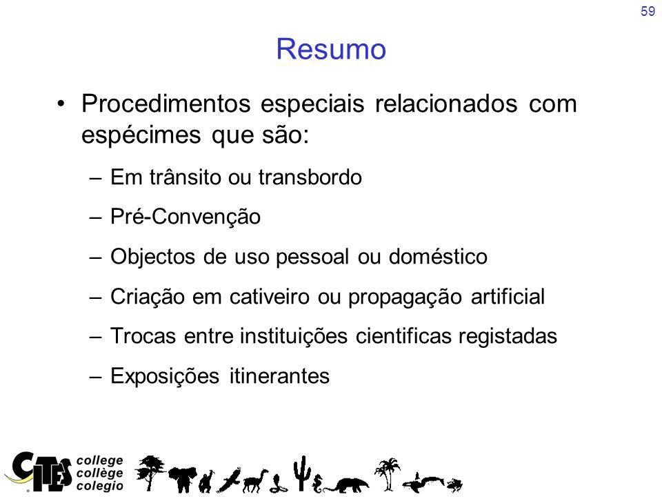 59 Resumo Procedimentos especiais relacionados com espécimes que são: –Em trânsito ou transbordo –Pré-Convenção –Objectos de uso pessoal ou doméstico