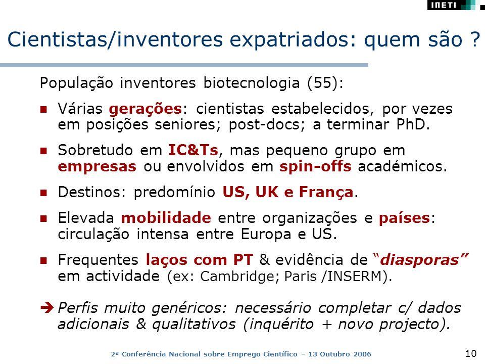 2ª Conferência Nacional sobre Emprego Científico – 13 Outubro 2006 10 Cientistas/inventores expatriados: quem são .