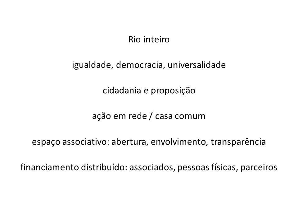 Rio inteiro igualdade, democracia, universalidade cidadania e proposição ação em rede / casa comum espaço associativo: abertura, envolvimento, transpa