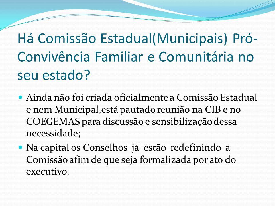 Há Comissão Estadual(Municipais) Pró- Convivência Familiar e Comunitária no seu estado? Ainda não foi criada oficialmente a Comissão Estadual e nem Mu