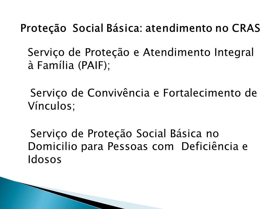Proteção Social Básica: atendimento no CRAS Serviço de Proteção e Atendimento Integral à Família (PAIF); Serviço de Convivência e Fortalecimento de Vínculos; Serviço de Proteção Social Básica no Domicilio para Pessoas com Deficiência e Idosos