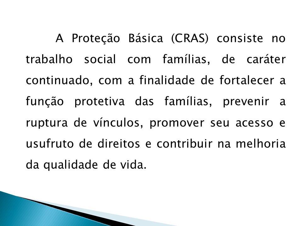 A Proteção Básica (CRAS) consiste no trabalho social com famílias, de caráter continuado, com a finalidade de fortalecer a função protetiva das famíli