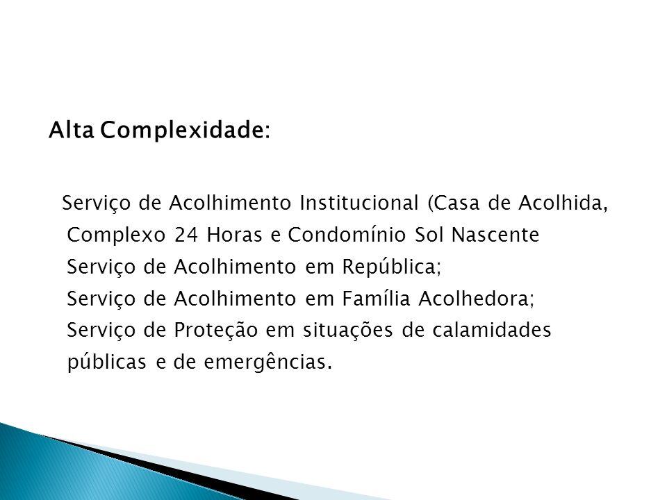 Alta Complexidade: Serviço de Acolhimento Institucional (Casa de Acolhida, Complexo 24 Horas e Condomínio Sol Nascente Serviço de Acolhimento em Repúb