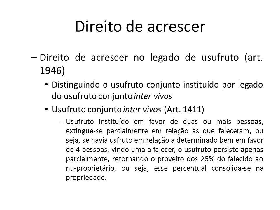 Direito de acrescer – Direito de acrescer no legado de usufruto (art. 1946) Distinguindo o usufruto conjunto instituído por legado do usufruto conjunt