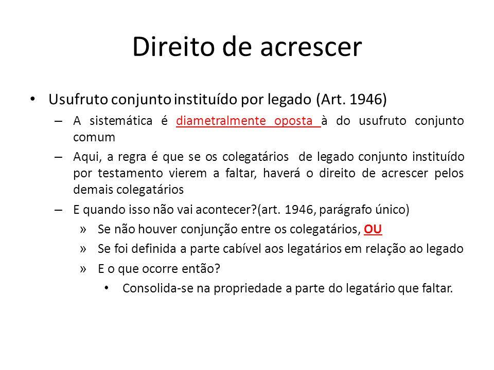 Direito de acrescer Usufruto conjunto instituído por legado (Art. 1946) – A sistemática é diametralmente oposta à do usufruto conjunto comum – Aqui, a
