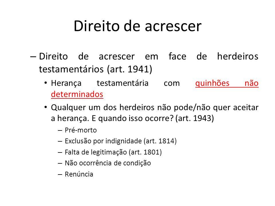 Direito de acrescer – Direito de acrescer em face de herdeiros testamentários (art. 1941) Herança testamentária com quinhões não determinados Qualquer