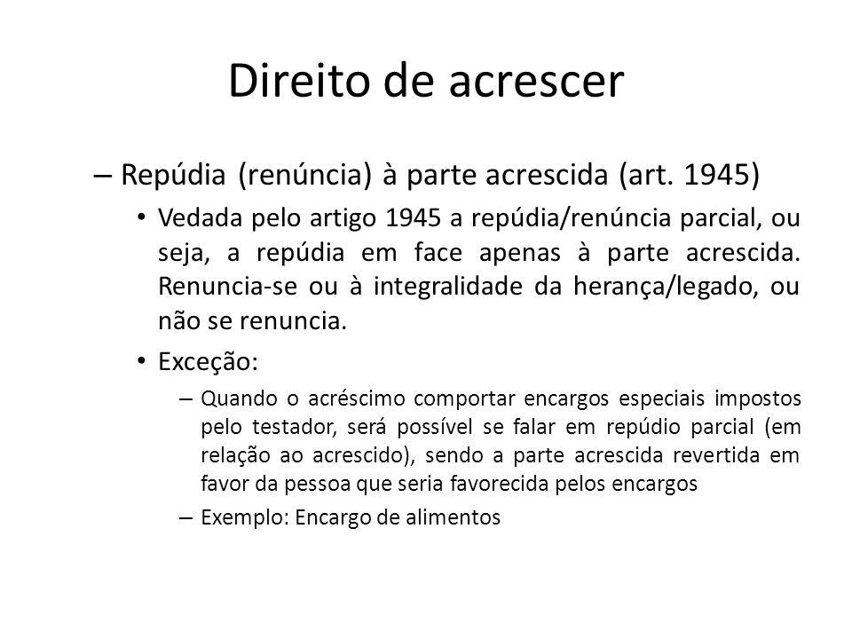 Direito de acrescer – Repúdia (renúncia) à parte acrescida (art. 1945) Vedada pelo artigo 1945 a repúdia/renúncia parcial, ou seja, a repúdia em face