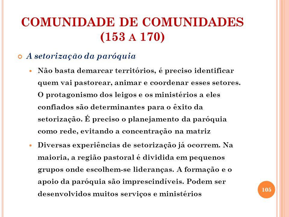 COMUNIDADE DE COMUNIDADES (153 A 170) A setorização da paróquia O mais importante é que todos estão incluídos numa família cristã, superando o anonimato e vivendo de forma solidária o testemunho cristão.