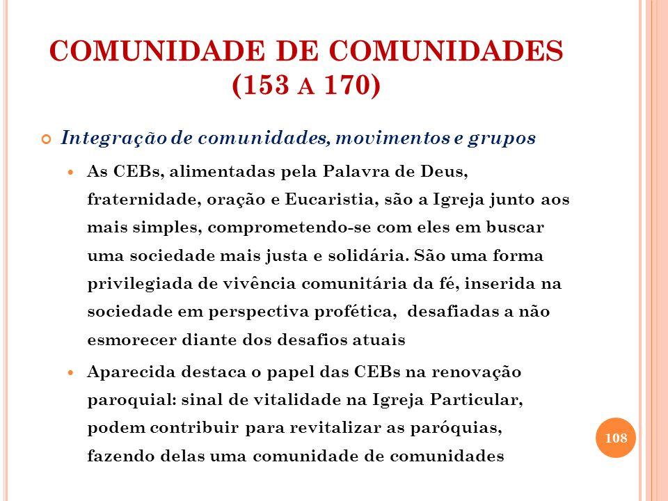 COMUNIDADE DE COMUNIDADES (153 A 170) Integração de comunidades, movimentos e grupos As CEBs, alimentadas pela Palavra de Deus, fraternidade, oração e