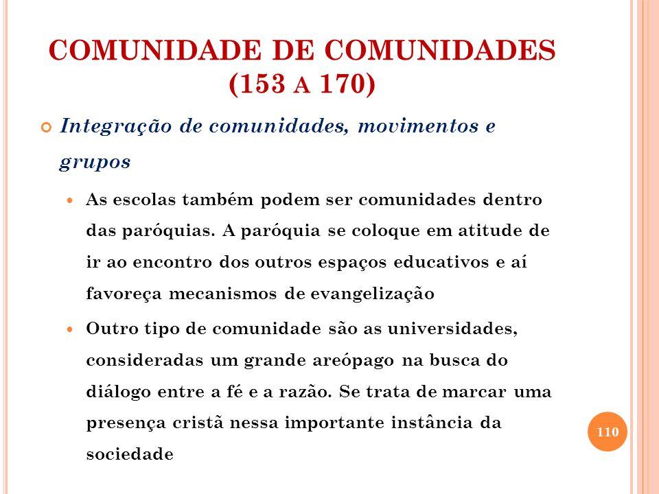 COMUNIDADE DE COMUNIDADES (153 A 170) Integração de comunidades, movimentos e grupos As escolas também podem ser comunidades dentro das paróquias. A p